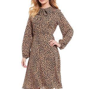 Gibson & Latimer Tie Neck, Leopard Print Dress